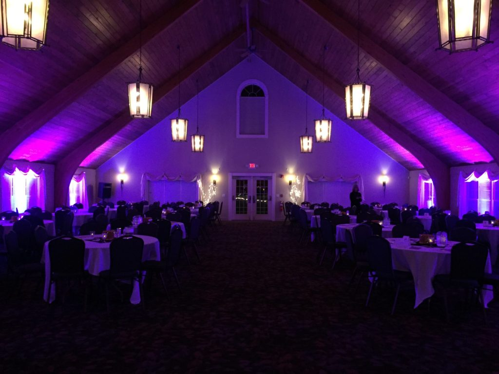 Uplighting for an MFS Event at The Shattuck in Jaffrey, NH